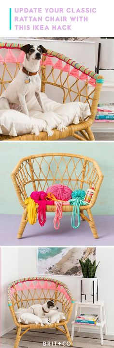 Revamp your IKEA Rattan chair with this colorful embroidery hack.
