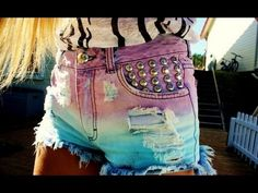 DIY: DIP DYED, STUDDED SHORTS. Easy step by step.