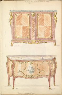 Two Period-style Designs for a Commode (Louis XIV and Louis XV)