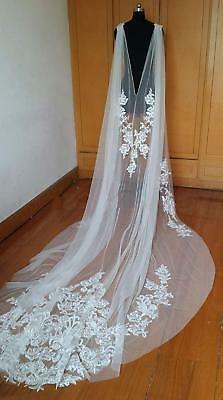 Women Long Cloak White / ivory V-Back Wedding Shawl Lace Bridal Cape Lace Wedding Dress, Wedding Jacket, Wedding Veils, Bridal Veils, Wedding Dresses With Cape, Wedding Cape Veil, Capes, Bridal Cape, Lace Veils