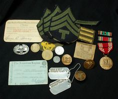 WW2 Memories of Army TSgt Leroy E. Berry - Dog Tags, Patches, Medals, Badges