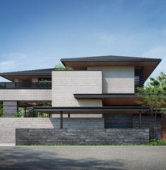 Japan Modern House, Japan House Design, Modern Tropical House, House Front Design, Modern Architecture House, Facade Architecture, Residential Architecture, Narrow House Designs, Latest House Designs