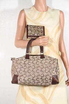 4490f2b4a67e CELINE PARIS Vintage Tan LOGO Canvas BOSTON BAG Handbag Soft Doctor Bag  w/WALLET Create