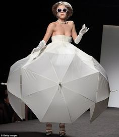 A dress made out of umbrellas - with some Fifties-inspired accessories ~ by Gianni Molaro