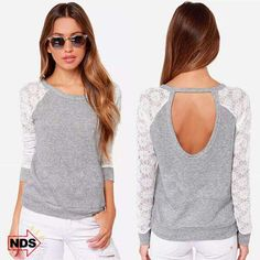 Women'S Lace Sleeve Top With Cut Out Back
