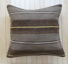 Decorative Throw Pillow Wool Kilim Pillow Gorgeous Cushion cover with stripes Vintage Hand made 50 x 50. $42.00, via Etsy.