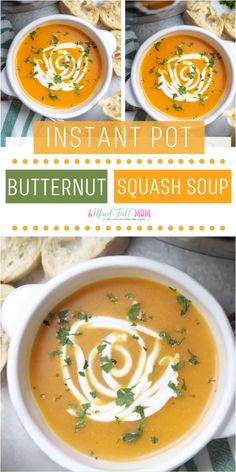 Instant Pot Butternut Squash Soup is healthy gluten-free and offers a vegan option! This copycat recipe of Panera's Butternut squash soup features rich spices creamy butternut squash and sweet apple cider. A hearty and filling meal your family will love! Frozen Butternut Squash Recipe, Panera Butternut Squash Soup, Autumn Squash Soup Recipe, Summer Squash Soup, Instant Pot Dinner Recipes, Healthy Soup Recipes, Apple Cider, Cheese Polenta, Goat Cheese