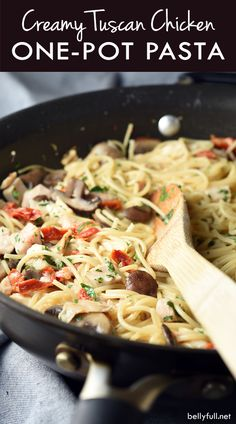 This Creamy Tuscan Chicken Pasta is super easy and loaded with flavor. Plus it's all cooked in one pot, making clean up a breeze. by daisy Chicken Pasta Dishes, Tuscan Chicken Pasta, Pot Pasta, Chicken Recipes, Pasta Recipes With Rotisserie Chicken, Grilled Chicken, Chicken Ideas, Asian Chicken, Chicken Spaghetti