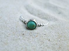 Sterling Silver Turquoise Beaded Stacker Ring.