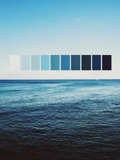 shows the cool of the ocean translated into a colour pallet. this palette demonstrates how cool colours can vary from white too deep dark blue. giving a sense of calm and soothe. Colour Pallete, Colour Schemes, Color Palettes, Blue Palette, Ocean Color Palette, Color Combos, Everything Is Blue, Deco Design, Colour Board