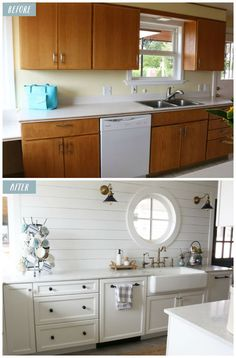 This small kitchen remodel reveal by The Inspired Room will inspire you with ideas for galley kitchens and how to add character.to a small space.