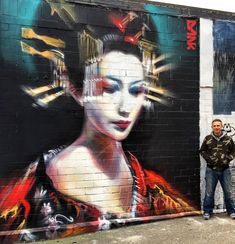 """'Serenity' my new geisha piece in Tooting, next to Pang's new artwork, this strip of wall will soon be full of new street art and graffiti, a great new place for art in Greater London, organised by The Real Art Of Street Art."" ~Dan Kitchener (DANK)"