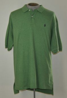 Men's Size XL Ralph Lauren Polo Green 100% Cotton Golf Shirt Short Sleeve