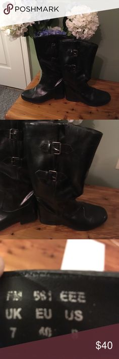 "Legroom wide calf Heavenly Soft Boots Legroom Heavenly soles boots - size 9EEE black.  These were purchased online and were never worn.  Size EEE curvy plus- made for large calves- will fit a 20-21 inch calf.  Soft upper with 2 buckles.  1"" heel - boot height is 15"" from bottom of heel to top of boot. Full zipper to ease putting them on.  These come from a smoke free and pet free home Legroom Shoes Heeled Boots"