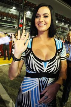 Katy Perry (USA) Singer on the grid.  Formula One