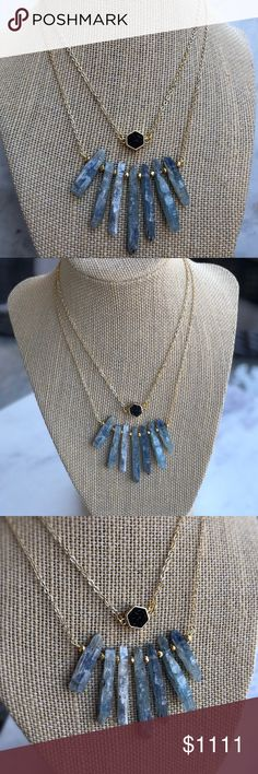 """✼Kyanite Spike Necklace✼ ✼HOLIDAY SPECIAL✼  statement style necklace featuring raw Swiss kyanite stones accented with gold plated pyrite · total length measures approximately 16"""" · 18k gold plated chains · handmade in El Paso, TX  ◇─◇ FREE SHIPPING // use the add to bundle feature ◇─◇ Simple Sanctuary Jewelry Necklaces"""