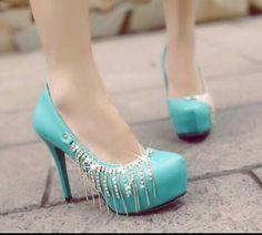 Aqua Blue High Heels | Tsaa Heel