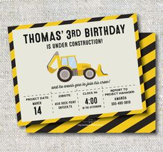 Construction Birthday Invitation: Trucks, Boy Birthday, Printable, Customizable by CJANEdesignshop on Etsy https://www.etsy.com/listing/223902078/construction-birthday-invitation-trucks