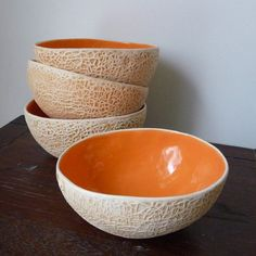 This unique melon ceramic fruit bowl set includes a serving bowl and four smaller bowls that will brighten up your table serving. Ceramic Bowls, Ceramic Pottery, Ceramic Art, Slab Pottery, Thrown Pottery, Pottery Vase, Ceramic Mugs, Stoneware, Ceramic Sculptures