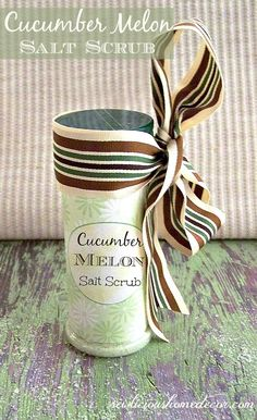 Cucumber Melon Salt Scrub in Reusable Parmesan Cheese Bottle. Flip one side to sprinkle in your hands for a quick hand scrub or flip the other side to pour in bath water. Easy recipe! #cucumber #scrub sewlicioushomedecor.com