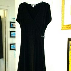 Faux-wrap Black Softly-Clinging Dress Soft, back tie-belt, silver enhancement at waist.  I wear a 1X, and this fits me.  With several times; washes like a dream. JM Collection Dresses Midi