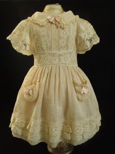 Antique Original French Cotton Swiss Dots Dress for Jumeau Bru Steiner Doll | eBay