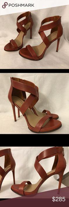 BCBGMaxAzria stilettos strappy heels 10M Copper colored and sprayed with dark brown. Unique and gorgeous. BCBGMaxAzria Shoes Heels