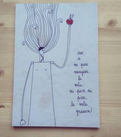 """a me piace mangiare la mela""  "" I love apples ""  Stampa su legno,  bianco e nero. Print on wood. Black n White.  Illustration by Giada Floris"