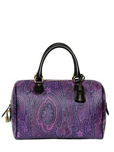 Etro Purple Paisley Print Pvc with leather trim and padlock