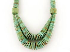 American Turquoise Large Heishi Necklace Excellent by MSJewelers