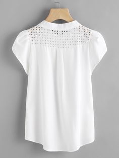 SheIn offers Eyelet Embroidered Panel Petal Sleeve Blouse & more to fit your fashionable needs. Blouse Styles, Blouse Designs, Petal Sleeve, Roll Up Sleeves, Blouse Outfit, Blouse Online, Plus Size Blouses, Blouse Vintage, Shirt Blouses