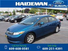 2012 Honda Civic LX 107k miles Blue $10,020 107953 miles 609-608-0581 Transmission: Automatic  #Honda #Civic #used #cars #HaldemanFord #HamiltonSquare #NJ #tapcars