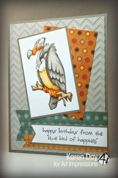 Zoo Crew images: Buzzard Set (Sku#4194) from Art Impressions. Masculine birthday card.