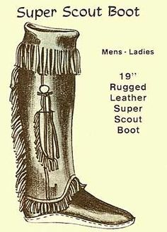 Mountain Man Boot Moccasins | Scout Boot with Knife Sheath and fringe