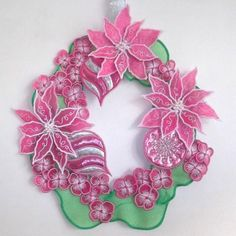 Vintage Embroidery Patterns Christmas Wreath - Make a festive hoop with flowers in soft pinks. Machine Embroidery Projects, Machine Embroidery Applique, Crewel Embroidery, Vintage Embroidery, Learn Embroidery, Flower Embroidery, Christmas Embroidery Patterns, Hand Embroidery Patterns, Embroidery Designs