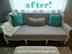How I Transformed A Yard Sale sofa with Chalk Paint! Part 1--Painting furniture's fabric. Who would have thought!!! I so want to try this!!!