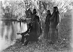 Comanche chief Quanah Parker with three wives in Matador, Texas, circa 1910.