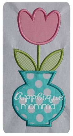 Flower in Pot Applique Design Embroidery Patterns Free, Sewing Appliques, Machine Embroidery Applique, Applique Quilts, Quilt Patterns, Applique Momma, Machine Quilting Designs, Quilting Projects, Sewing Projects