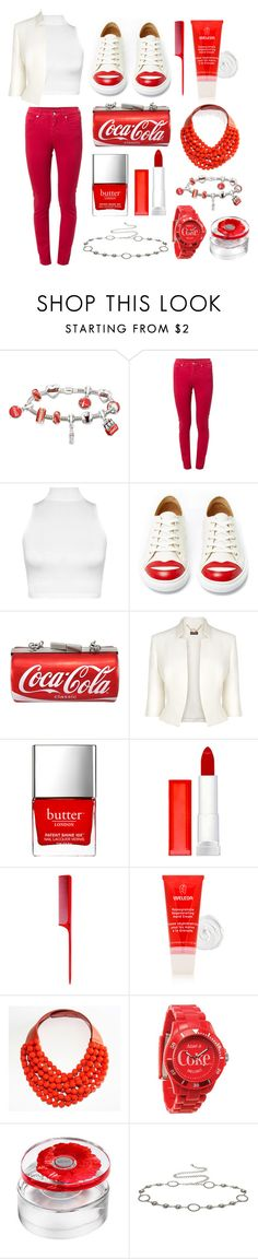"""Coca-Cola Outfit Only"" by reb99170 ❤ liked on Polyvore featuring The Bradford Exchange, MM6 Maison Margiela, WearAll, Charlotte Olympia, Phase Eight, Butter London, Maybelline, HairArt, Weleda and Fairchild Baldwin"