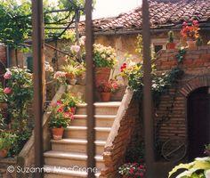 Love the feel. Bricks and tiles look very cute. Patio Garden.  Cortona, Italy