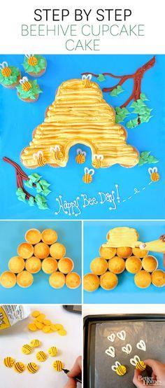 21 Pull Apart Cupcake Cake Ideas Bee Hive Pretty My Party Pull Apart Cupcake Cake, Pull Apart Cake, Beehive Cupcakes, Bee Cupcakes, Bee Cake Pops, Ladybug Cupcakes, Kitty Cupcakes, Snowman Cupcakes, Princess Cupcakes