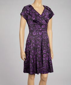 Take a look at this Purple Spiral Surplice Dress by Cece's New York on #zulily today! $48 !!