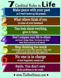 7 Cardinal Rules in Life by The Best Status