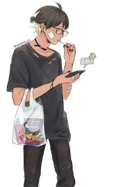 Is that Yamaguchi? Tsukiyama Haikyuu, Haikyuu Fanart, Haikyuu Ships, Haikyuu Anime, Anime Boys, Manga Anime, Kagehina, Rock Lee, Hinata