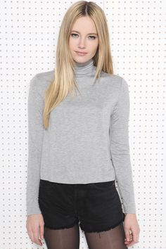 Sparkle & Fade Cropped Roll Neck Top