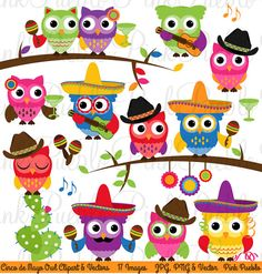Cinco de Mayo Owl Clipart Clip Art, Happy Cinco de Mayo Cowboy Owls Clip Art Clipart Vectors - Commercial and Personal