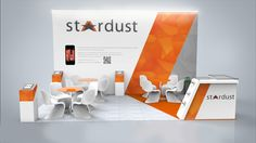 Really like the angled back wall to the reception counter strip, really ties the stand together  Stardust stand 2014 on Behance
