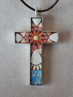 Mosaic Flower Cross PendantWhite Pink and by SallyMaysMosaicArt, $45.00