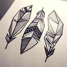 37 ideas tattoo designs drawings sketches inspiration art for 2019 Geometric Drawing, Leaf Drawing, Drawing Art, Feather Drawing, Geometric Artwork, Geometric Nature, Abstract Art, Feather Sketch, Geometric Artists