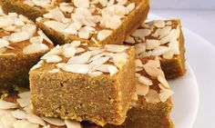 These spiced almond squares were inspired by a Lebanese dessert called sfouf, which is mainly made of semolina, wheat flour, sugar, vegetable oil, and turmeric.  In an attempt to re-create a healthy